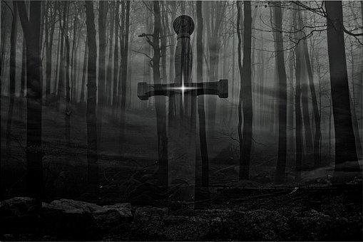 Sword, Forest, Fog, Fantasy, Trees
