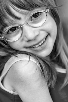 Girl, Young, Female, Portrait, Glasses, Blonde, Smile