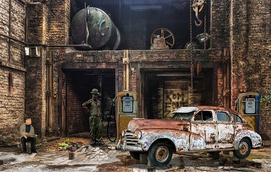 Factory, Hall, Auto, Miniature Figures, Petrol Stations
