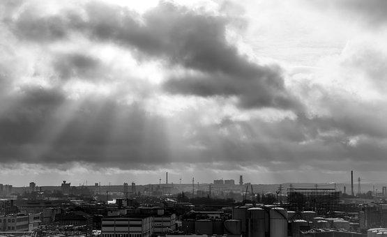 Industrial Area, Port, Clouds, Sky, Hamburg, Elbe