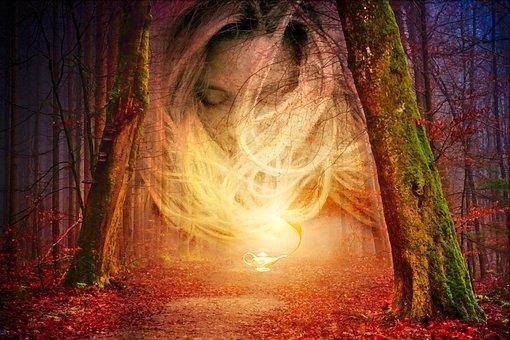 Forest, Light, Spirit, Lamp, Aladdin, Nature, Trees