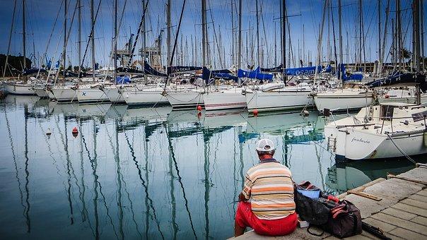 Angler, Leisure, Rest, Hobby, Man, Marina