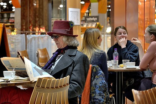 Man, Reading, Newspaper, People, Sitting, Elderly