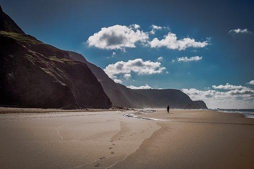 Beach, Sand, Alone, Lonesome, Walk, Ocean, Relax