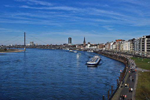 Skyline, Rhine, Düsseldorf, Architecture, City