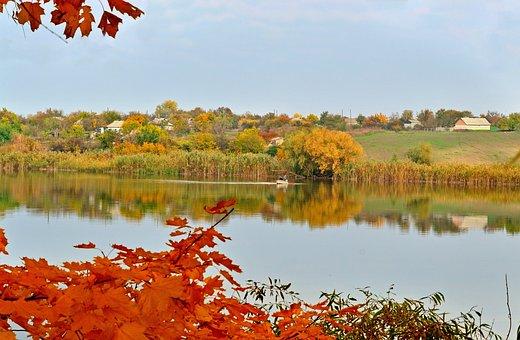Autumn, Ukraine, Nature, Landscape, Trees, Sky, River