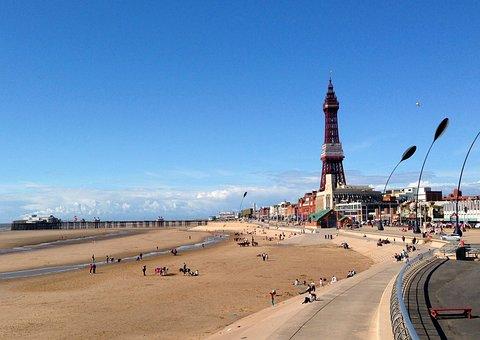 Blackpool, Tower, Seaside, Beach, England, Pier