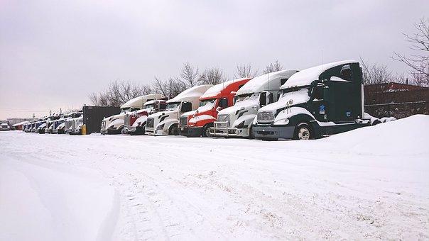 Trucks In Snow, Snow Truck, Truck Yard, Winter, Trucks