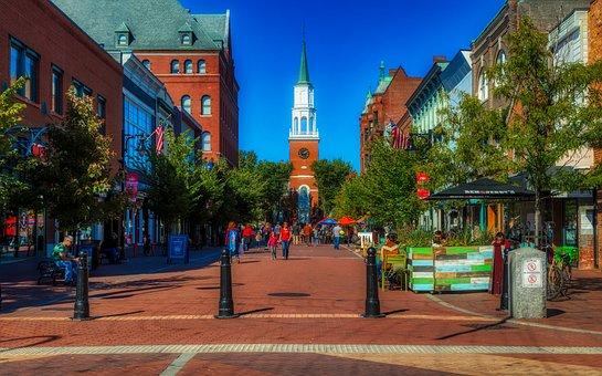 Burlington, Vermont, America, City, Urban, Buildings