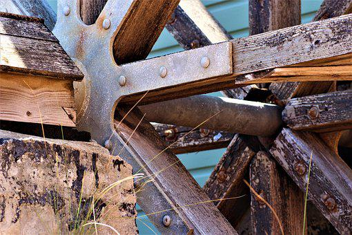 Water Mill, Rusty, Old, Water, Metal, Historically