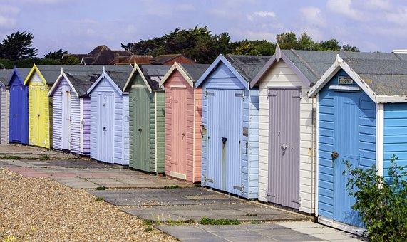 Beach Huts, Beach Houses, Huts, Wooden, Beach, House
