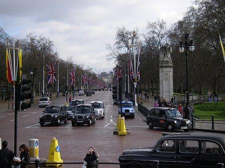 London, Black, Taxi, Street, Road, Boulevard
