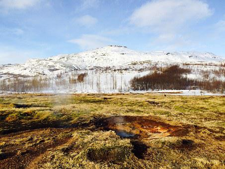 Iceland, Geyser, Boiling, Ice, Fire, Snow