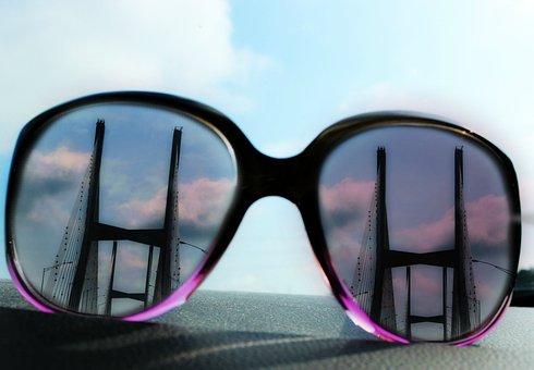 Sunglasses, Dashboard, Bridge, Mississippi, Car, Drive