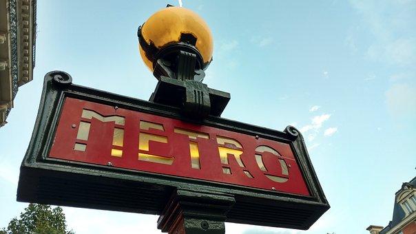 Metro Sign, Metro Station, Paris Metro, Sign, City