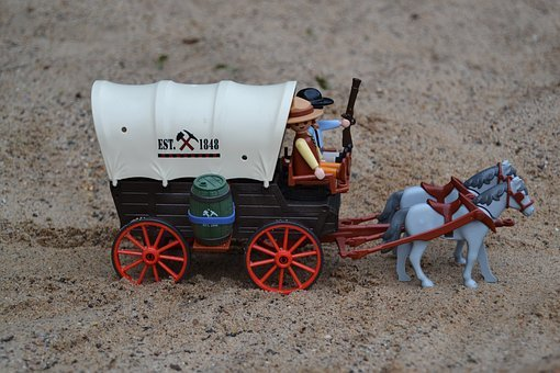 Playmobil, Western, Usa, America, Covered Wagon