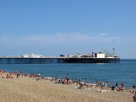 Brighton, Pier, Beach, England, Sussex, Sea, Sky, Uk