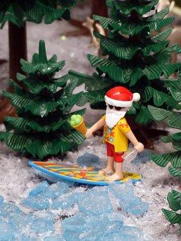 Playmobil, Exhibition, Toys, Figures, Santa Claus, Surf