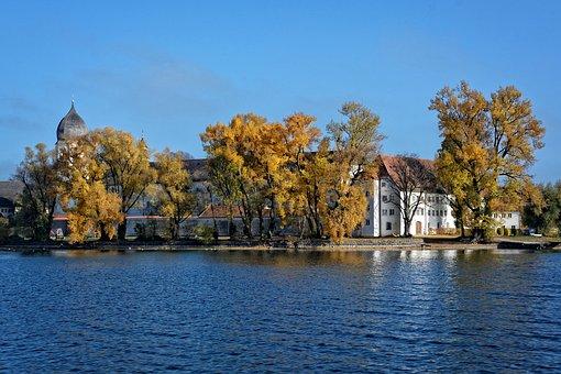 Autumn, Ladies Island, Monastery, Frauenwörth Monastery