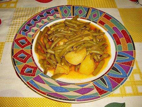 Green Beans, Boiled Potatoes, Greek Food, Vegetable