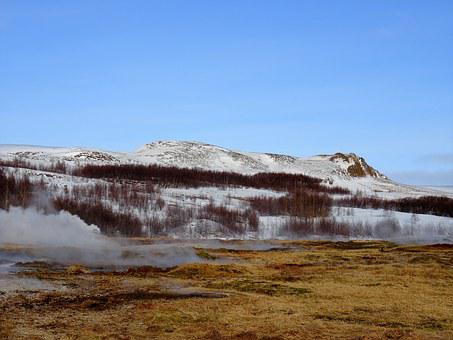 Iceland, Geyser, Ice, Fire, Boiling, Snow