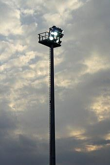 Flood Light, Sky, Evening, Lighting Pole, Lighting