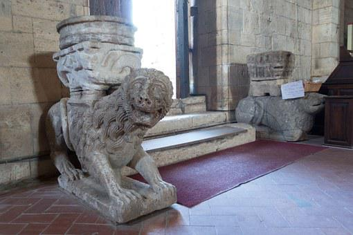 Lion, Sculpture, Holy Water, Input, Abbey, Monastery