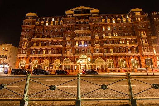 Hotel, Building, Brighton, Night