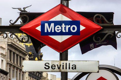 Subway, Madrid, Spain, Sign, Metro, Europe