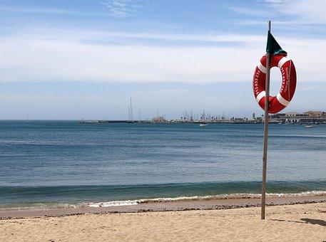 Beach, Lifebelt, Portugal, Cascais, Atlantic, Sea, Sun