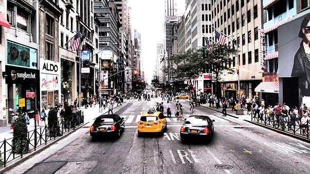 Yellow Cab, Taxi, New York, Road, Auto, Usa