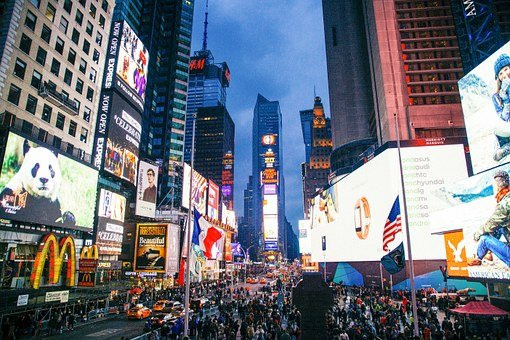 City, Time Square, Nyc, Buildings, Architecture, Square