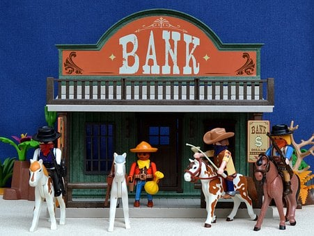 Playmobil, Western, Bank, Usa, America, Robbery, Toys