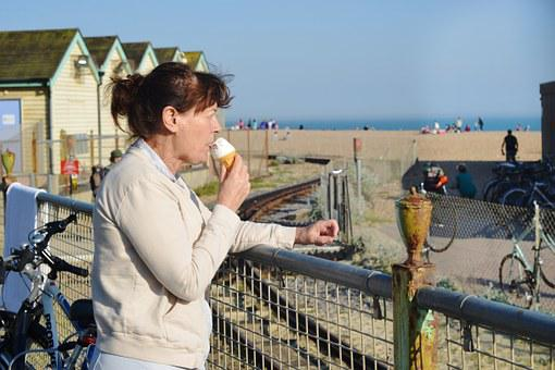 Ice Cream, Eating, Tourist, Lady, Woman, Britain