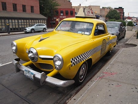 Taxi, Cab, New, York, Yellow, Retro, Vintage, Nyc