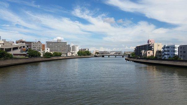 Tsurumi River, Yokohama, Japan, Riverside, Sunny