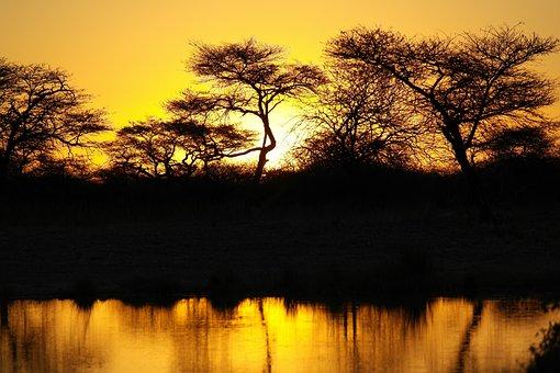 Africa, Sunset, Landscape