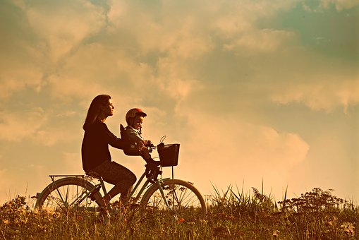 Mother, Child, People, Bicycle Ride, Exercise