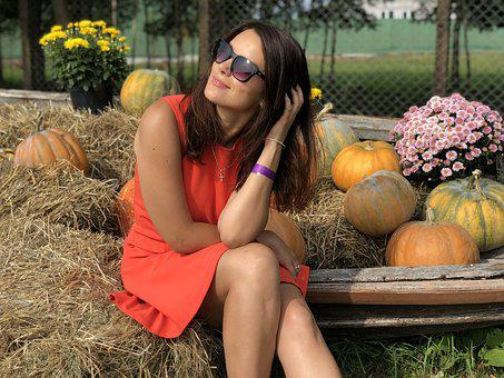 Girl, Dress, Glasses, Pumpkin, Straw, Bright Dress