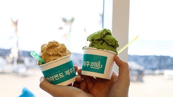 Ice Cream, Gelato, Peanut Gelato, Greentea Ice Cream