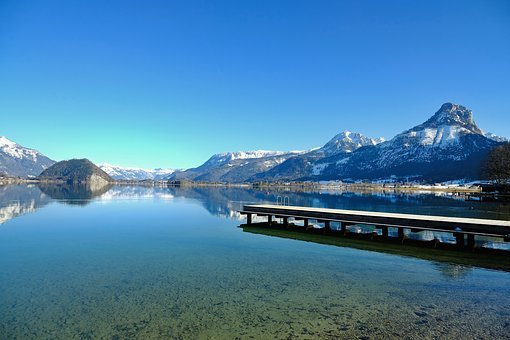 Nature, Landscape, Water, Lake, Jetty, Mountains
