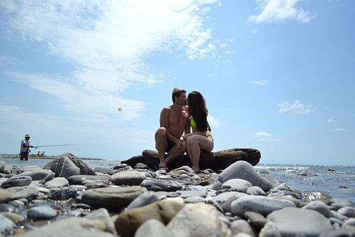 Love, Sea, Romantic, Sky, Beach, Couple, Kiss