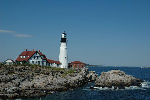 Maine, Portland, Head Light, Lighthouse, Ocean, Scenic