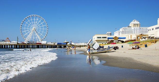 Atlantic City, Beach, Ocean, Waves, Water, Pier, Travel