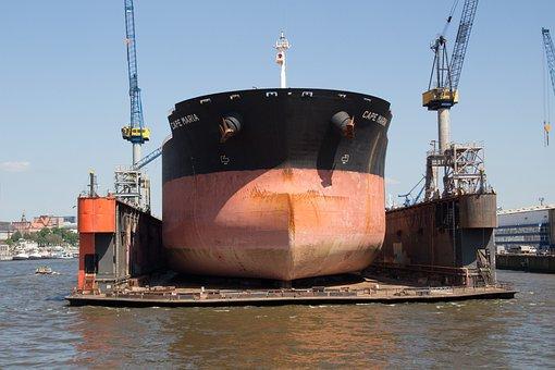 Ship, Dry Dock, Hamburg, Port, Port Of Hamburg, Repair