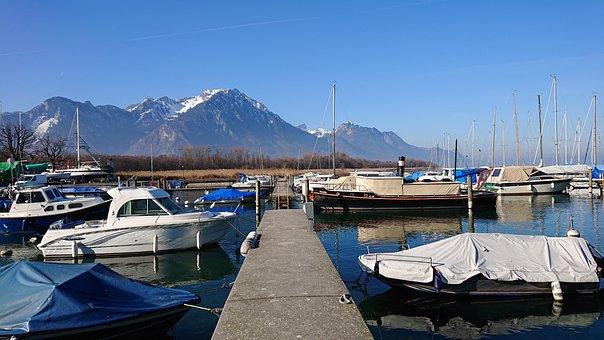 Villeneuve, Port, Boat, Sailboat, Yacht, Water
