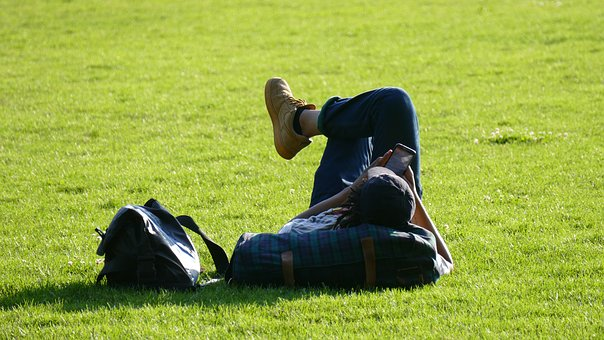Relaxing, Park, Summer, Student, Rest, Peaceful, Young