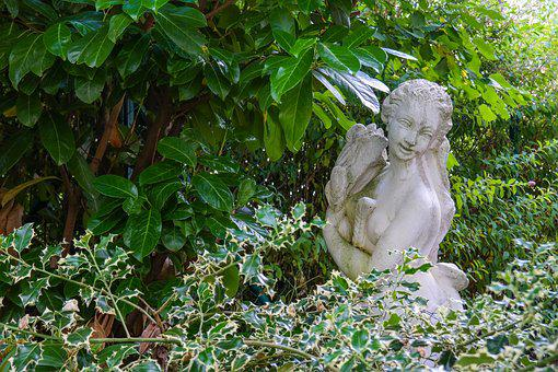 Garden, Female Statue, Sculpture, Bushes, Foliage