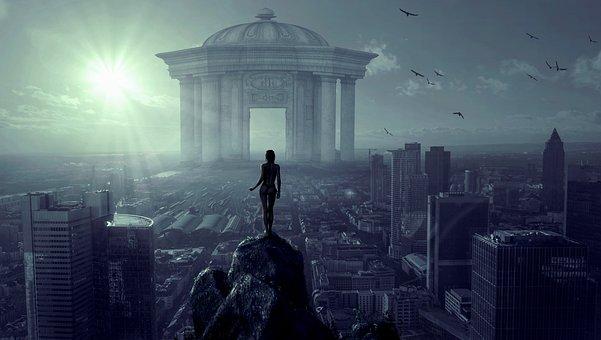 City, Monument, Building, Woman, Silhouette