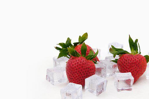 Strawberries, Ice, Ice Cubes, Cool, Fresh, Fruits